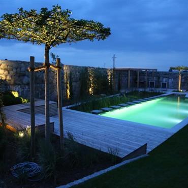 Eclairage de la baignade la nuit par des LED