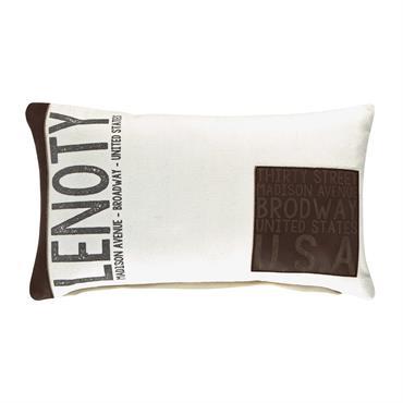 Coussin en coton blanc et marron imprimé 30x50
