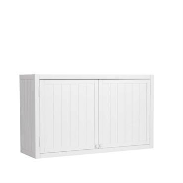 Meuble haut de cuisine en pin blanc L 120 cm Newport