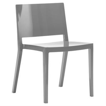 Chaise empilable Lizz / Version brillante - Kartell gris brillant en matière plastique