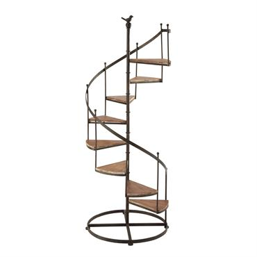 Étagère escalier en sapin et métal effet rouille