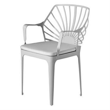 Fauteuil Driade Design Blanc Métal Larg 53 cm x Prof 55 cm x H 83 cm - Assise : H 48 cm Le charme des jardins d´autrefois... Avec la collection ...