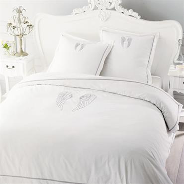 Parure de lit 220 x 240 cm en coton blanche ANGE