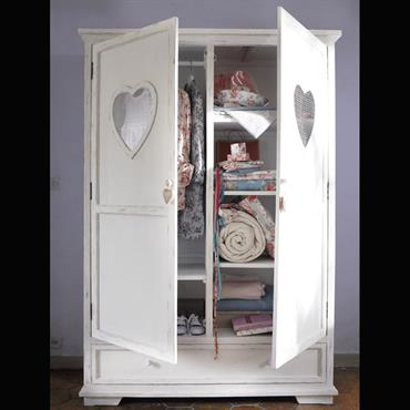 Armoire blanche 2 portes 1 tiroir Valentine