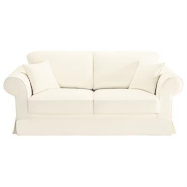 Canapé 3 places en coton ivoire Victoria