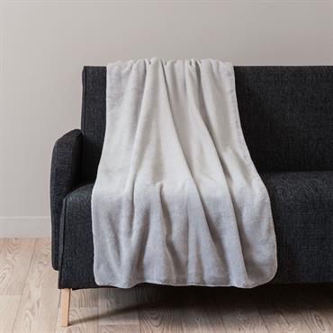 Plaid en tissu gris argenté 150 x 230 cm CHANTILLY