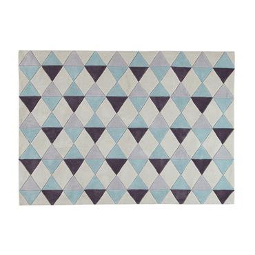 Tapis à poils courts bleu motifs graphiques 140x200