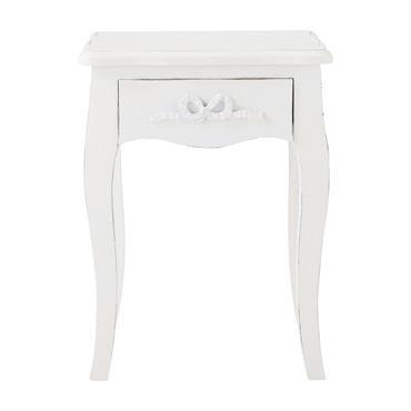Table de chevet avec tiroir en bois blanc L 40 cm Charlotte