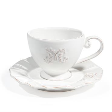 Tasse et soucoupe à thé en faïence blanche BOURGEOISIE