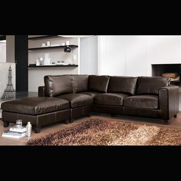 Canapé d'angle 5 places en croûte de cuir marron Kennedy