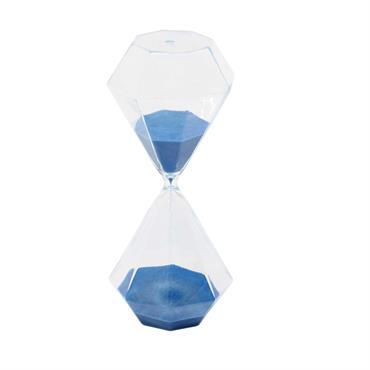 Sablier en verre bleu H 30 cm CARL