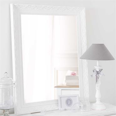 Miroir en bois de paulownia blanc H 90 cm VALENTINE