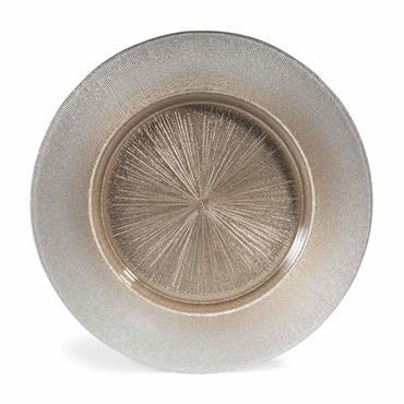 Assiette de présentation en verre gris D 33 cm GLITTER