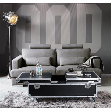 Table basse à roulettes noire L 120 cm Cinéma