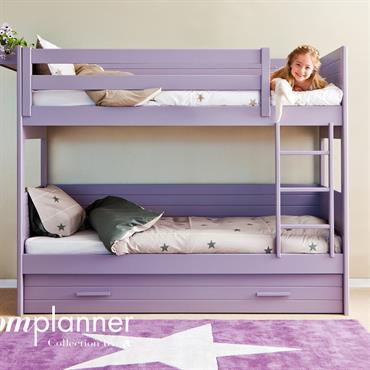 Lits superposés en bois mauve pour chambre d'enfant