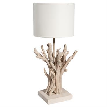 Lampe de chevet en polyrésine et abat-jour en toile H 48 cm