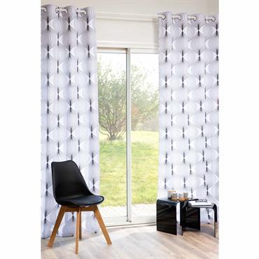 Rideau à ?illets en tissu blanc/noir 140 x 250 cm LENNOX