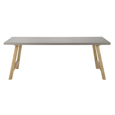 Vous cherchez une table à dîner moderne ? Avec son plateau effet béton, cette table à manger vous séduira par son design épuré. Supportée par des pieds en bois de ...