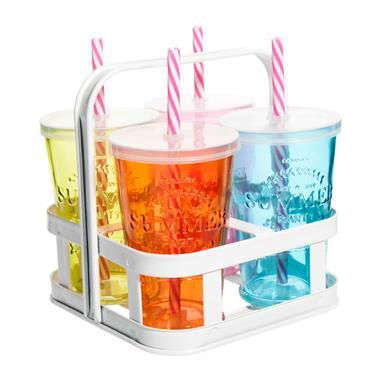 4 verres avec paille en verre multicolore