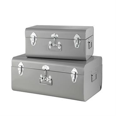 2 malles en métal grises L 44 cm et L 56 cm