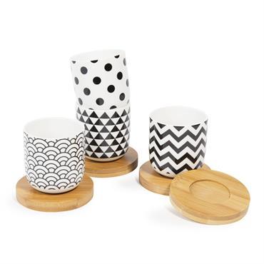 Coffret 4 tasses en porcelaine avec soucoupes BLACK & WHITE