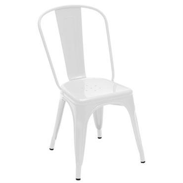 Chaise empilable A / Acier - Couleur brillante - Tolix blanc brillant