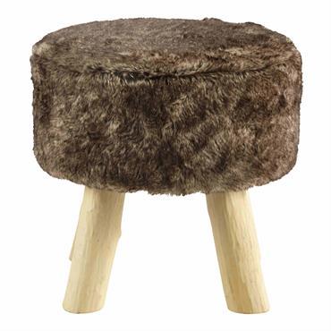 Avec son air montagnard, le tabouret LOUP en fausse fourrure et bois, vous offrira une assise douce et chaleureuse. Doté d'un piètement en sapin, ce tabouret deviendra un meuble d'appoint ...