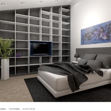 Chambre adultes avec tête de lit et bibliothèque sur mesure