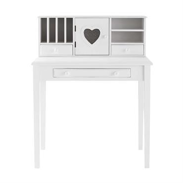 Bureau secrétaire 1 porte 3 tiroirs blanc Valentine