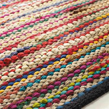 Tapis tressé en coton multicolore 160 x 230 cm ROULOTTE