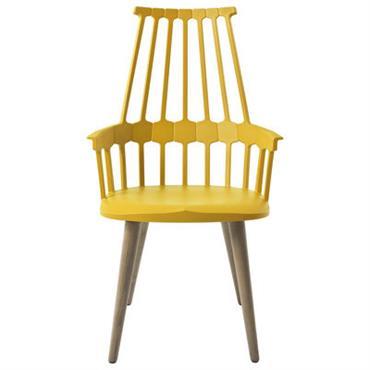 Chaise Comback / Polycarbonate & pieds bois - Kartell jaune en matière plastique