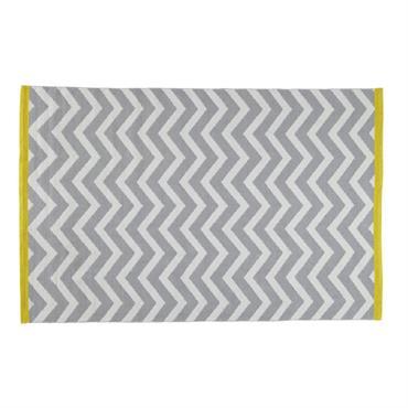 Tapis à poils courts en coton gris 140 x 200 cm WAVE