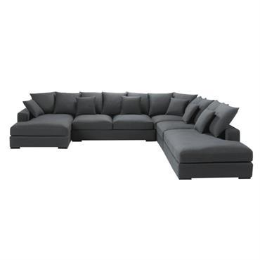 Canapé d'angle modulable 7 places en coton gris Loft