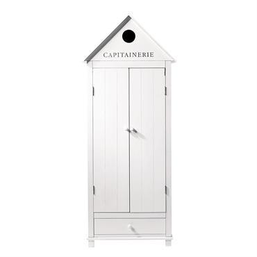 Rappelant les anciennes cabines de plage, l'armoire blanche Newport est le meuble de rangement parfait pour une chambre d'enfant. Cette armoire en bois peint et son inscription capitainerie comblera votre ...