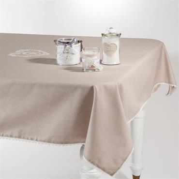 Nappe enduite en coton beige 140 x 140 cm CAMILLE