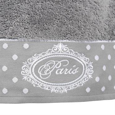 Serviette de bain en coton grise 50x100 PARIS