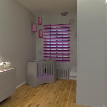 Projet d'une chambre bébé pour un appartement Haussmannien  Meuble évolutif où le plan à langer se transformera en bureau.