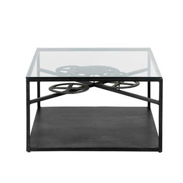 Table basse indus en verre et métal L 80 cm Rouage