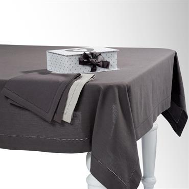 Nappe carrée unie en coton gris anthracite 170 x 170 cm