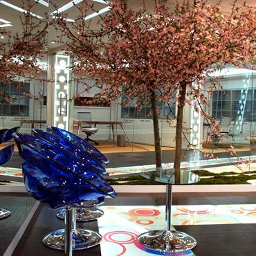 Zone d'attente avec jardin japonais et cerisier en fleurs