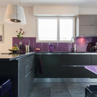Cuisine moderne en acier et violet -Vue rapprochée