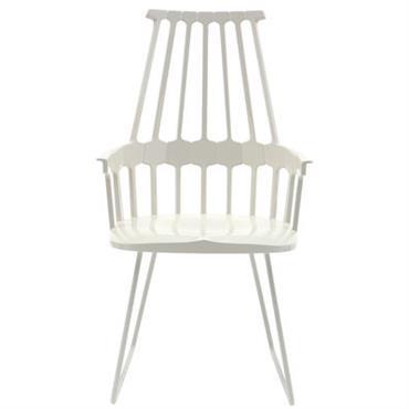 Chaise Comback / Polycarbonate & pied luge métal - Kartell blanc