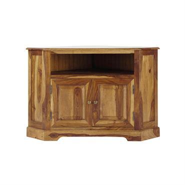 Meuble TV d'angle en bois de sheesham massif L 105 cm Luberon