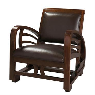 Fauteuil en croûte de cuir marron Charleston