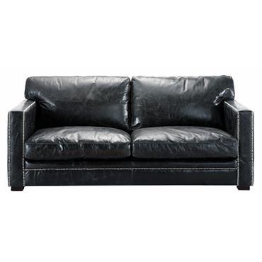 Canapé 3/4 places en cuir noir Dandy