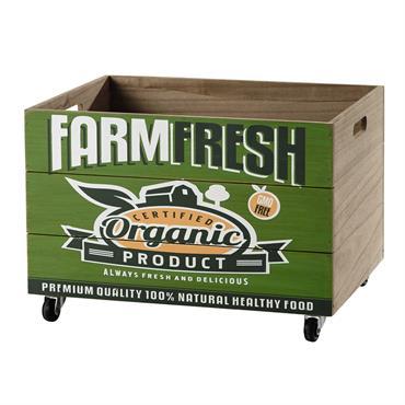 Caisse à roulettes en bois verte 35 x 50 cm FARM FRESH