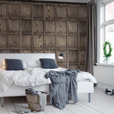 Tête de lit papier peint trompe l'oeil  imitation cloison de bois