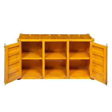 Meuble TV container en métal jaune L 129 cm Carlingue