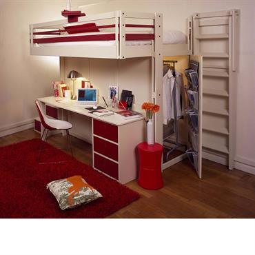 Lit mezzanine avec dressing intégré et bureau