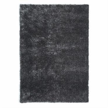 Tapis à poils longs en tissu gris 140 x 200 cm LUMIERE